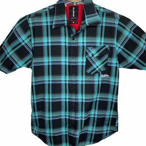 Billabong Plaid Short Sleeve Button Down Shirt M
